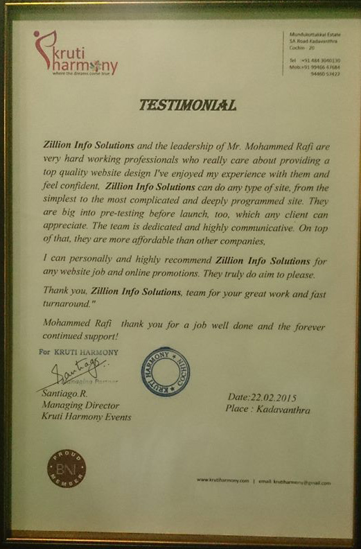 Work appreciation From the MD of Kruthi Harmony Events and Felicity management Pvt Ltd (05 March 2016)